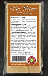 Xylit Schokolade DIE WEISSE, 100g Flachtafel