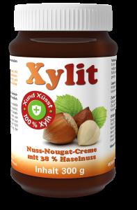 Xylit NUSS-NOUGAT-CREME, 38% Haselnuss, Glas mit 300g Inhalt
