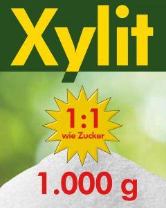 Xylit Birkenzucker 1kg, wiederverschließbarer Standbeutel